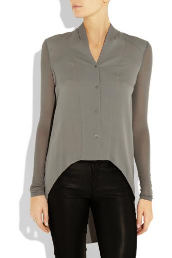 Helmut Lang Contrast-sleeve silk blouse €285 at www.netaporter.com