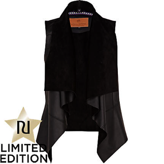 BLACK LEATHER FALLAWAY GILET by River Island £100
