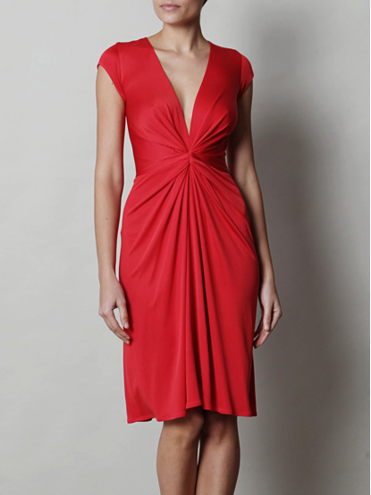 Red knot-front dress in silk jersey €460 at www.matchesfashion.com