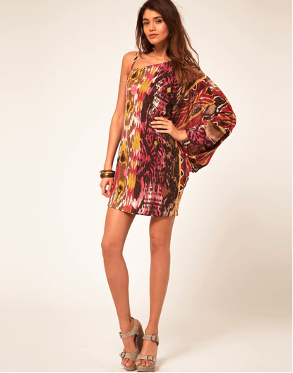 Miss Sixty Asymmetric Dress With Tribal print, price reduced to £54.00 at www.asos.com