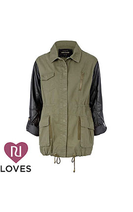 (1) A stylish army jacket at River Island which combines leather look sleeves with khaki twill. KHAKI PU SLEEVE ARMY JACKET £55 at River Island