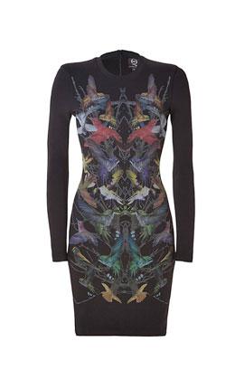 ALEXANDER MCQUEEN Black Hummingbird Print Sweatshirt Dress £285 at Stylebop.com