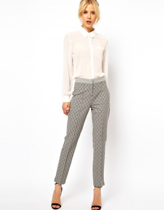 ASOS Straight leg Trousers In Jacquard €55.56 by ASOS Collection at asos.com