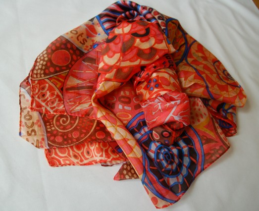 Exquisite multi-colored silk scarf